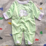 ชุดหมีหุ้มเท้าสีเขียว ไซด์ 0-3