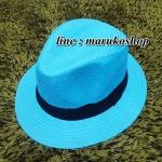หมวกปานามาปีกกว้าง หมวกสาน หมวกปานามาสีฟ้าคาดดำ พร้อมส่งค่ะ **รูปถ่ายจากสินค้าจริงที่ขายค่ะ**
