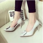 รองเท้าส้นสูงสีขาว หัวแหลม ประดับโบว์ แนวหวาน ส้นเข็มสูง8ซม. แฟชั่นเกาหลี