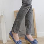 รองเท้าส้นสูงสีฟ้า หุ้มส้น แบบส้นหนา หัวกลม ประดับโบว์ ส้นสูง8cm แฟชั่นเกาหลี