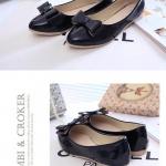 รองเท้าคัทชูส้นเตี้ยสีดำ หัวแหลม แต่งโบว์ หนังPU สไตล์หวาน เรียบง่าย แฟชั่นเกาหลี