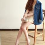 รองเท้าทำงานส้นสูงสีแอปริคอท หุ้มส้น หัวแหลม ส้นเข็ม ส้นสูง9cm ทรงสุภาพ แฟชั่นเกาหลี