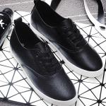 รองเท้าผ้าใบแฟชั่นเกาหลีสีดำ วัสดุหนัง พื้นแบน พื้นสีขาว แบบเชือกผูก ทรงคลาสสิค น่ารัก ใส่ลำลอง