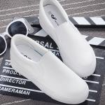 รองเท้าผ้าใบแฟชั่นผู้หญิง สีขาวล้วน วัสดุหนัง พื้นหนา ทรงทันสมัย แบบสวม แฟชั่นเกาหลี