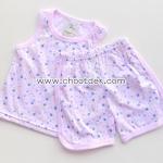 ไซด์ 12 เดือน ชุดเสื้อกล้ามกางเกง สีชมพูดอกไม้สีฟ้า
