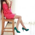 รองเท้าทำงานส้นสูงสีเขียว หัวหลม ผ้ากำมะหยี่ ส้นเข็ม ส้นสูง9.5cm ทรงสุภาพ แฟชั่นเกาหลี