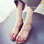 รองเท้าแตะผู้หญิงสีชมพู ส้นแบน รัดส้น สไตล์โรมัน แนววินเทจ ดูดี แฟชั่นเกาหลี