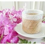 Small Wicker Basket ตะกร้าสาน ทรงกระบอก ขนาดเล็ก ทาสีขอบด้วยสีขาว