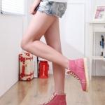 รองเท้าผ้าใบสีแดง หุ้มข้อ แบบเชือกผูก วัสดุPU โชว์ลายซิป เก๋ไก๋ แฟชั่นเกาหลี