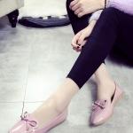 รองเท้าคัทชูส้นแบนสีชมพู หัวแหลม ประดับโบว์หวานๆ สไตล์หวาน แฟชั่นเกาหลี