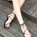 รองเท้าแตะผู้หญิงสีดำ แบบรัดส้น พันข้อเท้า สไตล์โรมัน แฟชั่นกำลังฮิต แฟชั่นเกาหลี