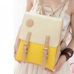 กระเป๋าเป้ กระเป๋าสะพายหลัง สำหรับผู้หญิง หนังนุ่ม สีเหลือง