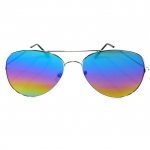 แว่นกันแดดกรอบเงิน เลนส์สีรุ้ง สไตล์ Aviator - 14,6