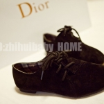 รองเท้าหุ้มส้นผู้หญิงสีดำ หนังกลับ หนังนิ่ม แบบเชือกผูก ส้นเตี้ย แฟชั่นเกาหลี