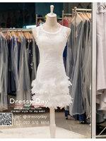 รหัส ชุดราตรีสั้น :BB129 ชุดแซก pre wedding ชุดราตรี after party ประดับดอกไม้ที่ชุดเพื่มความสวยหวานให้กับผู้สวมใส่ กระโปรงซ้อนเป็นชั้นๆ น่ารักมากๆ