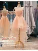 รหัส ชุดราตรี : PF008 ชุดราตรียาว เดรสออกงาน ชุดไปงานแต่งงาน ชุดแซก สีชมพู หน้าสั้นหลังยาวสวยๆ ประดับโบว์ที่เอว หมาะสำหรับงานแต่งงาน งานกลางคืน กาล่าดินเนอร์