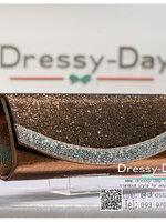 กระเป๋าออกงานพร้อ TE052 : กระเป๋าออกงานพร้อมส่ง สีน้าตาลเข็ม กระเป๋าคลัชตกแต่งกริตเตอร์สวยหรูมากค่ะ ราคาถูกกว่าห้าง ถือออกงาน หรือ สะพายออกงาน น่ารักที่สุด
