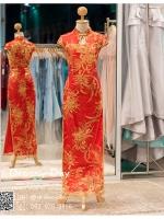 รหัส ชุดกี่เพ้า : KPL025 ชุดกี่เพ้าประยุกต์สำหรับเป็นชุดกี่เพ้าแต่งงานสวยๆ พร้อมส่ง แบบยาว งานปักเลื่อมทองมือสุดเนี๊ยบ ใส่เป็นชุดพิธียกน้ำชา ชุดส่งตัวเจ้าสาว ชุดถ่ายพรีเวดดิ้งหรือชุดแต่งงานตามธรรมเนียมจีนโบราณสวยหรู สง่า คุณภาพระดับห้องเสื้อ
