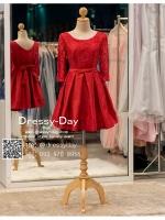 รหัส ชุดราตรีสั้น :AN775 ชุดแซกสีแดงตกแต่งลูกไม้ ชุดราตรีสีแดงสวยหวานมีแขนน่ารักๆ เหมาะกับการใส่งานแต่งงาน งานกลางวัน กลางคืน ยกน้ำชา