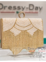 กระเป๋าออกงาน TE008: กระเป๋าออกงานพร้อมส่ง สีทอง ดีเทลเพชรและมุข สวยหรู ราคาถูกกว่าห้าง ถือออกงาน หรือ สะพายออกงาน สวย หรู ดูดีมากค่ะ