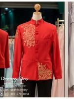 รหัส เสื้อจีนชาย : KPM002 เสื้อจีนชาย พร้อมส่ง ปักดิ้นทอง เท่ห์มากๆ เนื้อผ้าพรีเมี่ยม คัตติ้งเนี๊ยบ เหมาะสำหรับใส่ในพิธียกน้ำชา ถ่ายพรีเวดดิ้ง หรือสำหรับญาติเจ้าภาพ