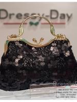 กระเป๋าออกงาน TE022: กระเป๋าออกงานพร้อมส่ง สีดำ แบบมีหูหิ้ว สวยหรูกับดีเทลเลื่อม ราคาถูกกว่าห้าง ถือออกงาน หรือ สะพายออกงาน สวย หรู ดูดีมากค่ะ เริ่ดคร๊า