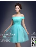 รหัส ชุดราตรี : YO007 เดรสออกงาน ชุดราตรีสั้น ชุดออกงาน ชุดไปงานแต่งงาน สีฟ้า เปิดไหล่โชว์ความน่ารัก