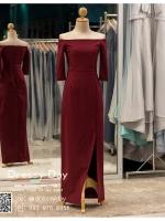 รหัส ชุดราตรียาวคนอ้วน : PK006 ชุดแซก ชุดราตรียาวมีแขน หรู สีแดง ไหล่ปาด เรียบหรู เหมาะสำหรับงานแต่งงาน งานกลางคืน กาล่าดินเนอร์