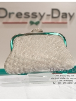 กระเป๋าออกงาน TE006: กระเป๋าออกงานพร้อมส่ง สีเงิน ที่เปิดลายหอย เพชรทั้งใบสวยหรูมากค่ะ ราคาถูกกว่าห้าง ถือออกงาน หรือ สะพายออกงาน น่ารักที่สุด