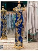 รหัส ชุดกี่เพ้า : KPL037 ชุดกี่เพ้าแบบยาว ผ้าลูกไม้เนื้อดีประดับเลื่อมทอง สีน้าเงิน สวย หรู และสง่ามากๆ เจ้าสาวที่มองหา ชุดกี่เพ้าประยุกต์ สำหรับใส่ในพิธียกน้ำชา ชุดส่งตัว ถ่ายพรีเวดดิ้ง ชุดแต่งงานตามธรรมเนียมจีน แนะนำคะ สวยมาก
