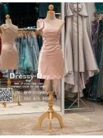 รหัส ชุดราตรีสั้น :PF140-4 ชุดราตรีสั้นผ้าซาติน เดรสออกงานไหลเฉียง ชุดไปงานแต่งงานสีชมพู ชุดแซกงานสวยมาก แบบประดับโบว์เพิ่มความน่ารัก