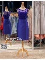 รหัส ชุดราตรี :PFS039 ชุดแซกผ้าลูกไม้งานสวยตกแต่งกริตเตอร์ ชุดราตรีสั้นหรูสีน้าเงิน สวย สง่า ดูดีแบบเจ้าหญิง ใส่เป็นชุดไปงานแต่งงาน งานกาล่าดินเนอร์ งานเลี้ยง งานพรอม งานรับกระบี่