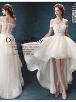 รหัส ชุดราตรี :AN614 ชุดแซก ชุดราตรี pre wedding หน้าสั้นหลังยาว ลูกไม้ประดับด้านบน เรียบหรุและสวยเก๋มากๆ