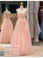 รหัส ชุดไปงานแต่ง :PF146 ชุดราตรียาว แขนกุด สีชมพู สวย สง่า ดูดีแบบเจ้าหญิง ใส่ไปงานแต่งงาน งานกาล่าดินเนอร์ งานเลี้ยง งานพรอม งานรับกระบี่