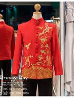 รหัส เสื้อจีนชาย : KPM001 เสื้อจีนชาย พร้อมส่ง ปักดิ้นทอง เท่ห์มากๆ เนื้อผ้าพรีเมี่ยม คัตติ้งเนี๊ยบ เหมาะสำหรับใส่ในพิธียกน้ำชา ถ่ายพรีเวดดิ้ง หรือสำหรับญาติเจ้าภาพ