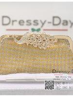 กระเป๋าออกงาน TE067: กระเป๋าออกงานพร้อมส่ง สีทอง ลายนกยูง ราคาถูกกว่าห้าง ถือออกงาน หรือ สะพายออกงาน สวย หรู ดูดีมากค่ะ