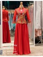 รหัส ชุดกี่เพ้ายาว : KPL060 ชุดกี่เพ้าประยุกต์ราคาถูกลายดอกบัว ชุดกี่เพ้าสวยๆ สีแดงแขนยาว แบบกระโปรงบาน ใส่เป็นชุดกี่เพ้าแต่งงานก็สวยคะ