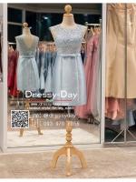 รหัส ชุดราตรี :PFS027 ชุดแซกผ้าลูกไม้งานสวย ชุดราตรีสั้นหรูสีฟ้าคาดเข็มขัดโบว์ช่วงเอว สวย สง่า ดูดีแบบเจ้าหญิง ใส่ไปงานแต่งงาน งานกาล่าดินเนอร์ งานเลี้ยง งานพรอม งานรับกระบี่