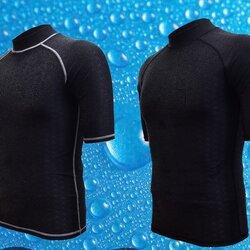 เสื้้อว่ายน้ำชายสีดำ ผ้ากันแดด รอบอก 38-46 รอบวงแขน 15 นิ้ว (ก่อนยืด) ยาว 28 นิ้ว ผ้าดี เนื้อหนา ระบายควมร้อนได้ดีมากค่ะ