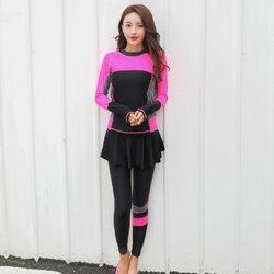 ชุดว่ายน้ำแนวสปอร์ตกัน uv เสื้อ +กางเกงขายาว ไซส์ 3xl รอบอก 36-42 รอบเอว 30-36 สะโพก 38-48 นิ้วค่ะ กางเกงขายาวมีผ้าระบายบังเป้า ผ้าดี งานสวยค่ะ