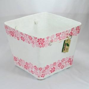 ตะกร้าอเนกประสงค์ลายดอกไม้สีชมพู