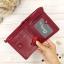 กระเป๋าสตางค์หนังแท้ หนังนิ่ม สีแดงเลือดนก รุ่น Contacts two Zipper Red ส่งพร้อมกล่อง thumbnail 2
