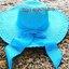 หมวกปีกกว้าง หมวกเที่ยวทะเล หมวกปีกว้างสีฟ้า แต่งโบว์ใหญ่ thumbnail 1