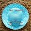 หมวกปีกกว้าง หมวกไปทะเล หมวกสาน โทนสีฟ้า แต่งโบว์กุหลาบรอบเก๋ๆ thumbnail 2