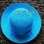 หมวกปีกกว้าง หมวกไปทะเล หมวกสาน สีฟ้า แต่งโบว์รอบเก๋ๆ thumbnail 2