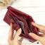 กระเป๋าสตางค์หนังแท้ หนังนิ่ม สีแดงเลือดนก รุ่น Contacts two Zipper Red ส่งพร้อมกล่อง thumbnail 7