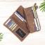 กระเป๋าสตางค์หนังแท้ทรงยาว สีน้ำตาลเทา เก็บของได้เยอะมาก เเยกชิ้นส่วนได้ ใส่มืือถือได้ thumbnail 13