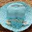 หมวกปีกกว้าง หมวกไปทะเล หมวกสาน โทนสีฟ้า แต่งโบว์กุหลาบรอบเก๋ๆ thumbnail 1