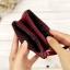กระเป๋าสตางค์หนังแท้ หนังนิ่ม สีแดงเลือดนก รุ่น Contacts two Zipper Red ส่งพร้อมกล่อง thumbnail 3