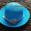หมวกปีกกว้าง หมวกเที่ยวทะเล หมวกสาน สีฟ้า แต่งโบว์ลายจุดรอบเก๋ ๆ thumbnail 2